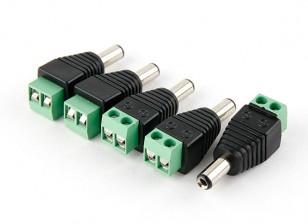 2.1mm DC Power Plug with Screw Terminal Block (5pcs)
