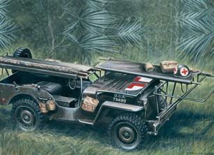 Italeri 1/35 Scale 4 x 4 Ambulance Jeep Plastic Model Kit