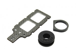 Carbon FPV Transmitter Mount with Rubber Damper Suits 10mm Booms