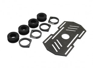 Carbon Multi-Rotor Battery Mount with Rubber Damping Suits 12mm Booms