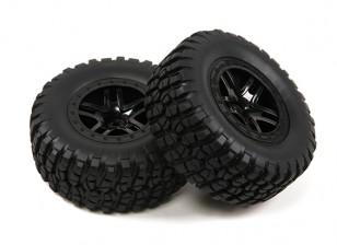 1/10th Scale 5 Spoke Split Style Short Course Truck Wheels & Tyres (2pc)