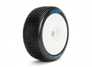 LOUISE B-VIPER 1/8 Scale Buggy Tires Soft Compound / White Rim / Mounted