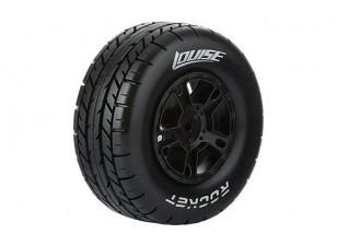 LOUISE SC-ROCKET 1/10 Scale Truck Front Tires Soft Compound / Black Rim / Mounted