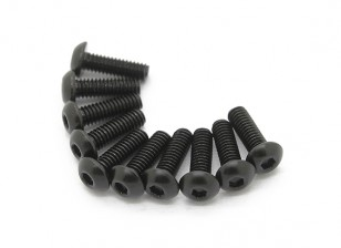 Screw Button Head Hex M2.5 x 6mm Machine Thread Steel Black (10pcs)