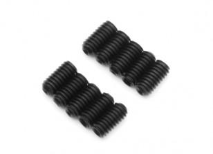 Screw Grub Hex M2.5 x 5mm Machine Thread Steel Black (10pcs)
