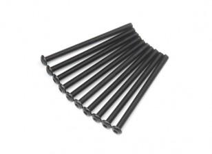 Screw Button Head Hex M3x45mm Machine Thread Steel Black (10pcs)