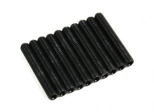 Screw Grub Hex M3x20mm Machine Thread Steel Black (10pcs)