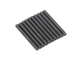 Screw Grub Hex M3x28mm Machine Thread Steel Black (10pcs)