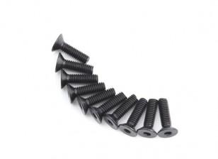 Screw Countersunk Hex M4 x 14mm Machine Steel Black (10pcs)