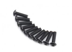 Screw Button Head Hex M4 x 14mm Machine Steel Black (10pcs)