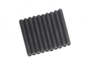 Screw Grub Hex M4 x 32mm Machine Steel Black (10pcs)