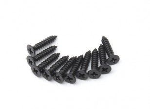 Screw Countersunk Phillips M2.5x12mm Self Tapping Steel Black (10pcs)