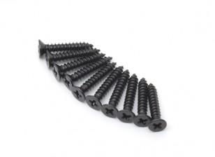 Screw Countersunk Phillips M2.5x14mm Self Tapping Steel Black (10pcs)