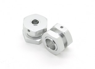 GPM Racing Roadtech Alu. Wheel Hex Adapter 12mm to 17mm, 7mm Offset w/17mm Lock Nut (Silver) (2pcs)