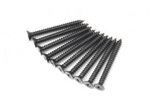 Screw Flat Head Phillips M2.6x26mm Self Tapping Steel Black (10pcs)
