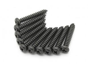 Screw Round Head Phillips M2.6x16mm Self Tapping Steel Black (10pcs)
