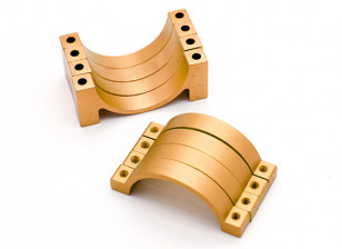 Gold Anodized CNC Semicircle Alloy Tube Clamp (incl.screws) 30mm