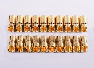 HXT 6mm Sprung Gold Connectors (10pair/20pc)