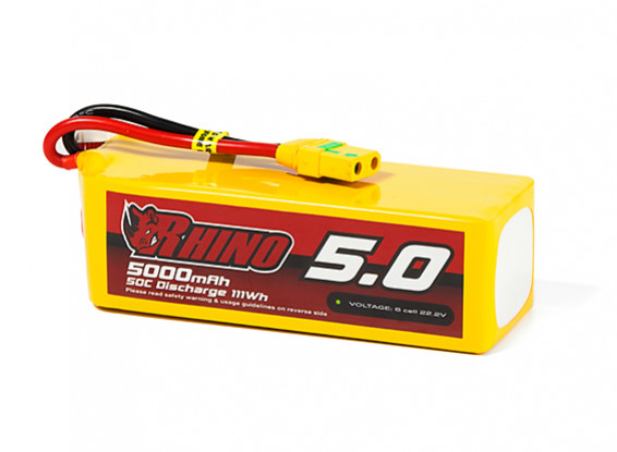 Rhino 5000mAh 6S 50C Lipo Pack w/XT90