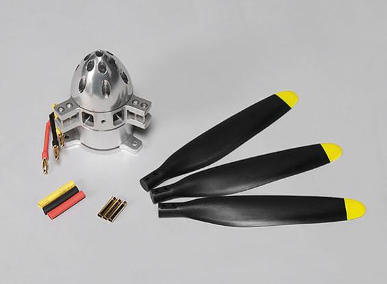 シャフトフリー3528 450KVブラシレスアウトランナーモーター1400W(プロペラと3ブレード)