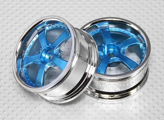 1:10スケールホイールセット(2個)ブルー/クローム5スポークRCカー26ミリメートル(オフセットなし)