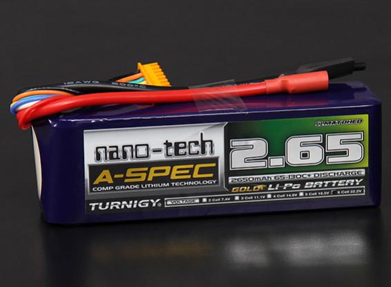 TurnigyナノテクノロジーA-SPEC 2650mah 6S 65〜130℃リポパック