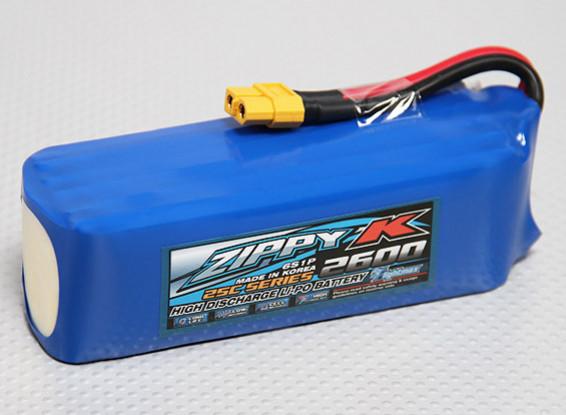 ジッピー-K Flightmax 2600mAhの6S1P 25C Lipolyバッテリー