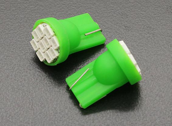 LEDコーンライト12V 1.5W(10 LED) - グリーン(2個)