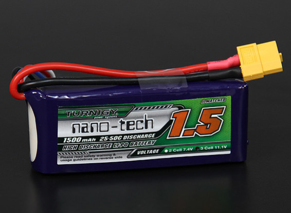 Turnigyナノテクノロジーの1500mAh 3S 25〜50Cリポパック