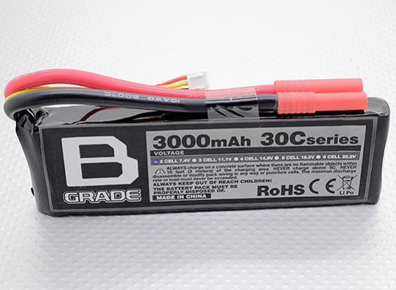 Bグレード3000mAhの2S 30C Lipolyバッテリー