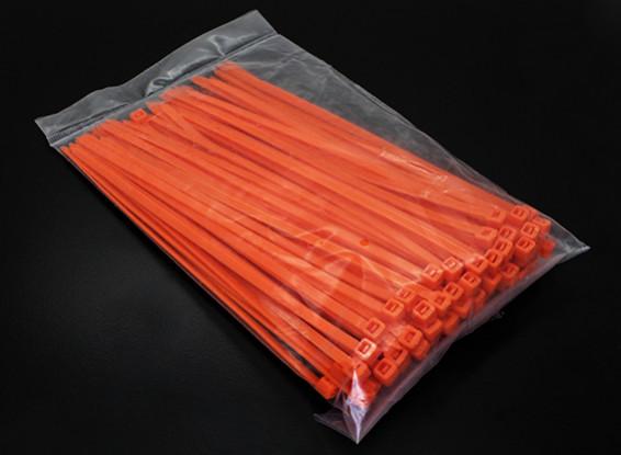 電気郵便番号/ケーブルタイ4xL150mm  -  100 /袋(オレンジ)