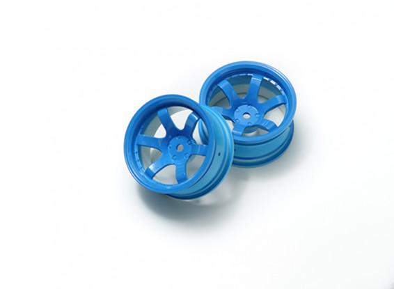 午前1時10分ラリーホイール6スポーク蛍光ブルー(9ミリメートルオフセット)