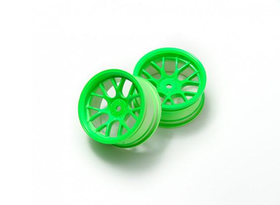 1時10ホイールセット 'Y' 7スポーク蛍光グリーン(6ミリメートルオフセット)
