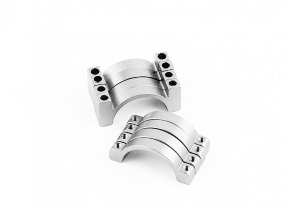 シルバーアルマイトCNC半円合金管クランプ(incl.screws)20ミリメートル