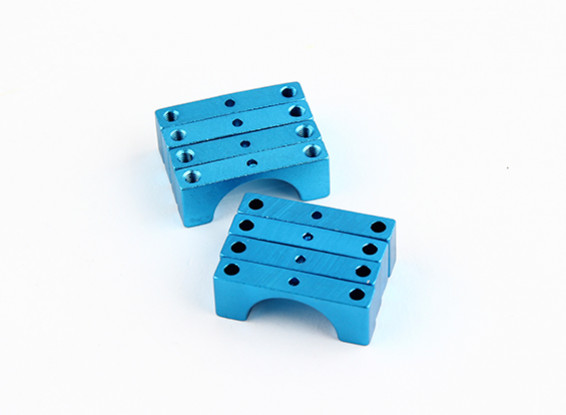 ブルーアルマイトダブルCNCアルミチューブクランプ15ミリメートルの直径を両面