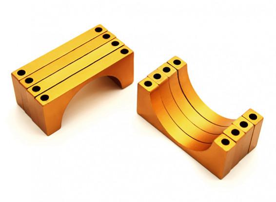 ゴールドアルマイト両面印刷の6ミリメートルCNCアルミチューブクランプ直径30mm(4個セット)
