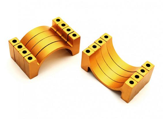 ゴールドアルマイトCNC半円合金管クランプ(税込。ナット&ボルト)30ミリメートル