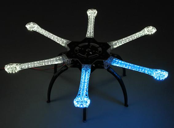 統合されたPCBの550ミリメートルとH550 V4 ProのLED Hexcopterフレーム(ブルー、ホワイト)