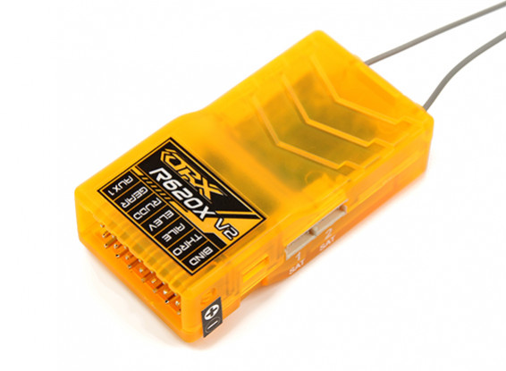 OrangeRx R620X V2 6Ch 2.4GHz DSM2/DSMX Comp Full Range Rx w/Div Ant, F/Safe & SBUS