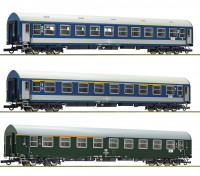 Roco/Fleischmann HO Scale 3 Piece D270 Meridian 1, DDR, MAV Carriage Set