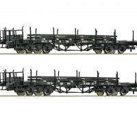 Roco/Fleischmann HO Scale Flat Double Bogie Wagons x 2 w/ Load OB