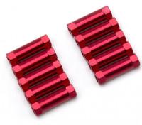 軽量アルミラウンドセクションスペーサーM3x17mm(レッド)(10個入り)
