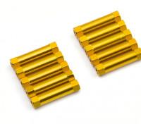 軽量アルミラウンドセクションスペーサーM3x22mm(ゴールド)(10個入り)