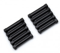 軽量アルミラウンドセクションスペーサーM3x26mm(ブラック)(10個入り)