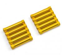 軽量アルミラウンドセクションスペーサーM3x26mm(ゴールド)(10個入り)