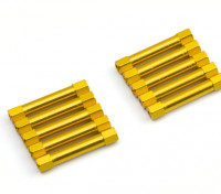 軽量アルミラウンドセクションスペーサーM3x30mm(ゴールド)(10個入り)
