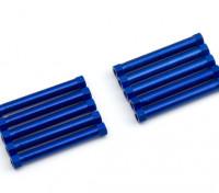軽量アルミラウンドセクションスペーサーM3x38mm(ブルー)(10個入り)