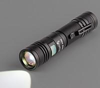ズームLED懐中電灯(フラッシュライト充電ケーブル、ハンドストラップホワイトボックス)