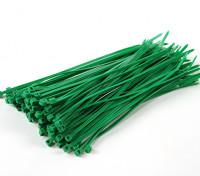 ケーブルタイ150ミリメートルx 3mmのグリーン(100本)