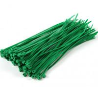 ケーブルタイ200ミリメートルx 4mmのグリーン(100本)